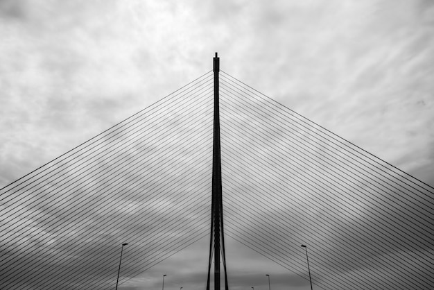 Silhouette of a cablestayed bridge in talavera de la reina over the river tagus