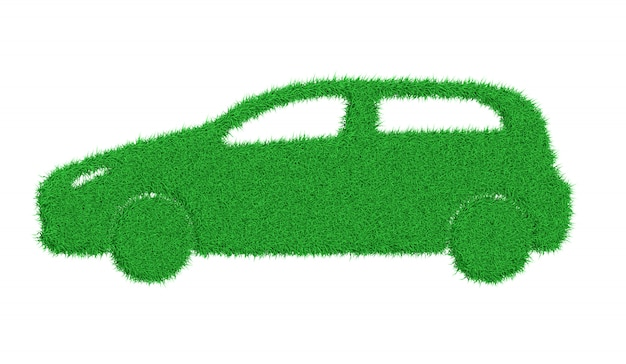 Silhouette of a car made of green grass 3d illustration