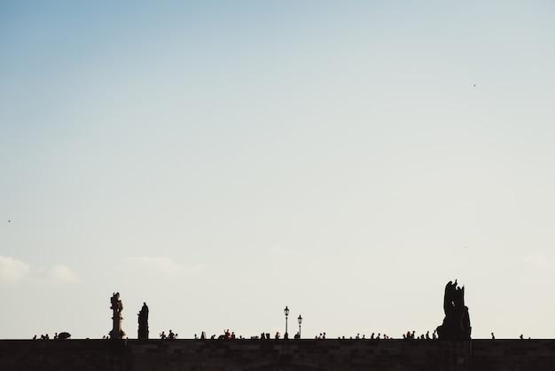 Silhouette of charles bridge. prague, czech republic