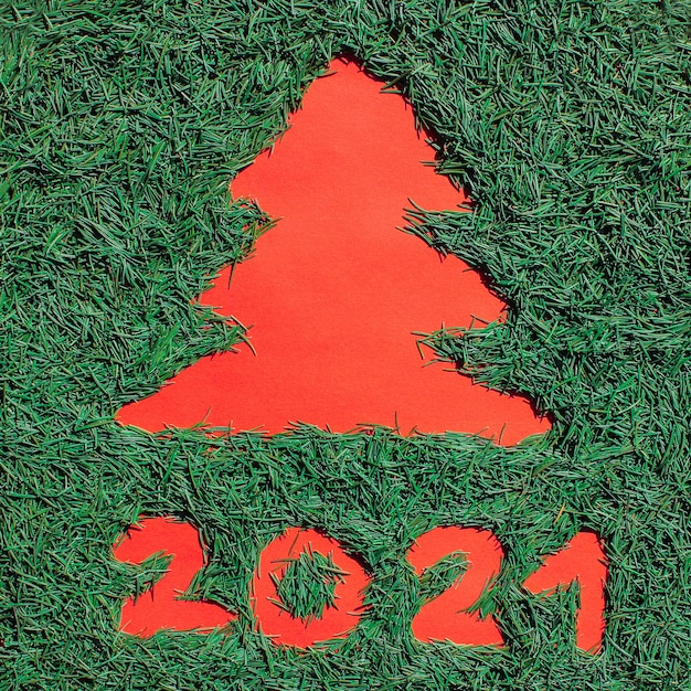 Silhouette of a christmas tree made of green christmas needles on a red background. symbol of 2021.