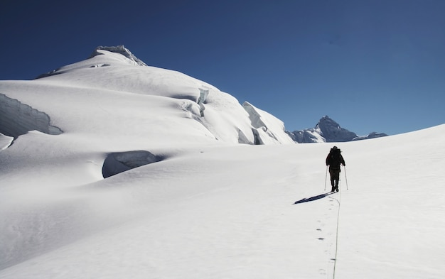 Silhouette climber on the peak ishinca