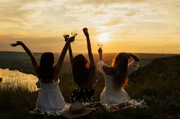 Silhouette of company of gorgeous female friends having fun, raised glasses with wine, and enjoy hills landscape picnic with amazing sunset.