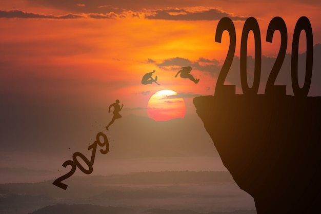 Silhouette concept of new year 2020