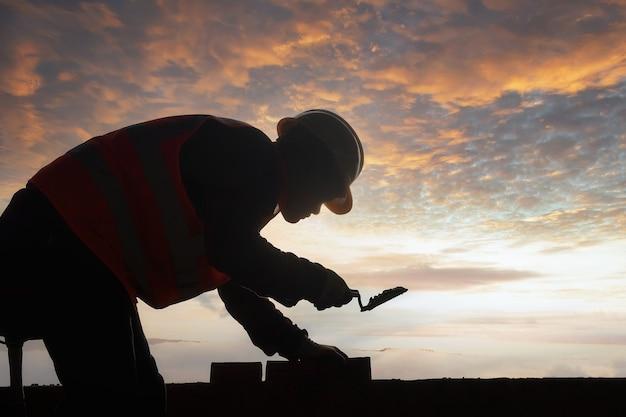 シルエット建設石工労働者煉瓦工