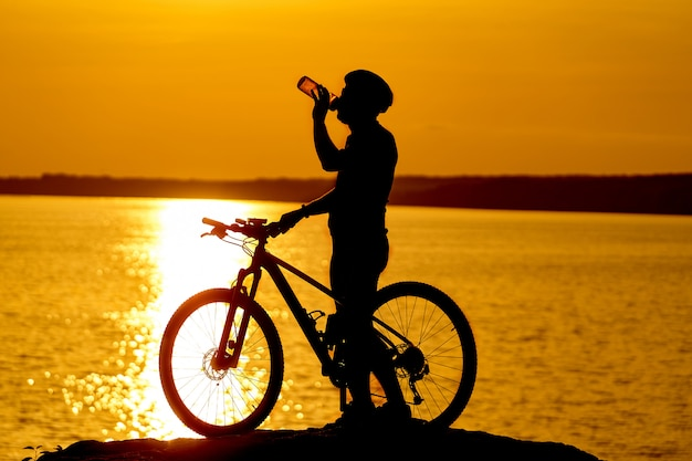 Silhouette of cyclist