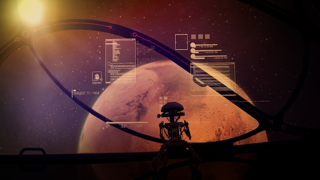 The silhouette of the droid stands at the panoramic window of a spaceship flying up to mars.
