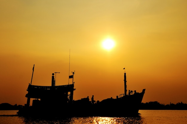 Silhouette of fishing boat