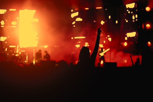 Silhouette of a girl at a concert