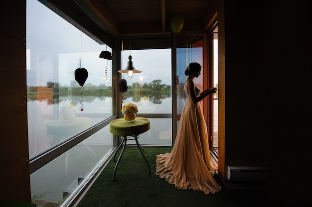 Silhouette of a girl in the room
