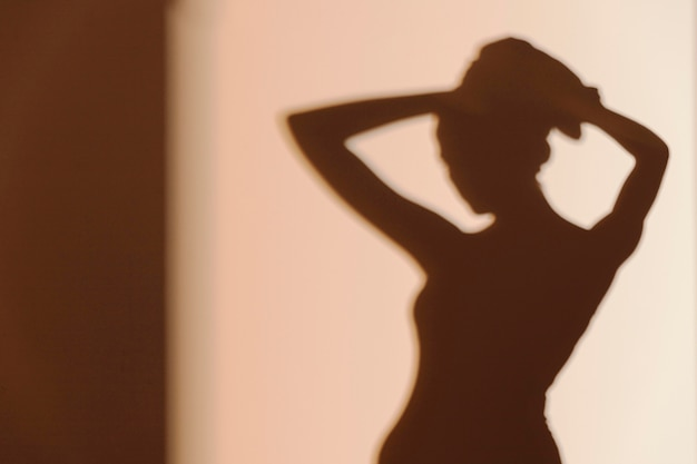 Silhouette of graceful woman after shower