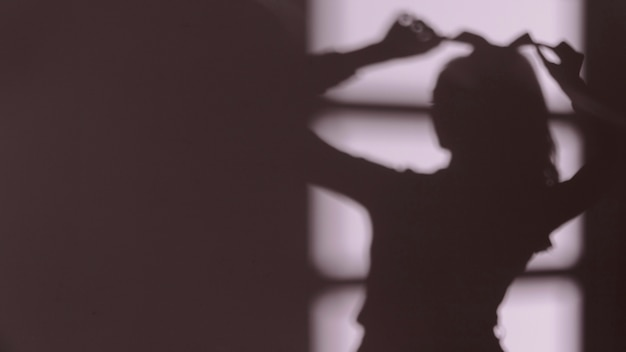 Silhouette of graceful woman relaxing at home