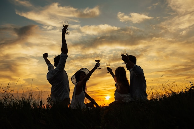 Silhouette of group of friends having picnic in a park on a amazing sunset
