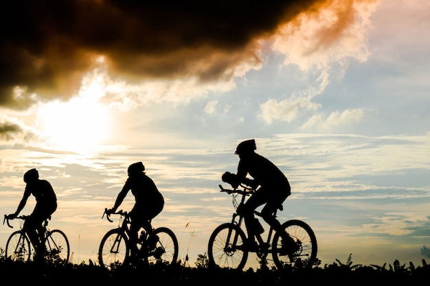 Silhouette group of men ride bicycles at sunset