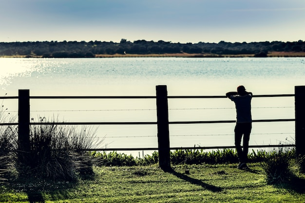 Silhouette guy standing in the marshes