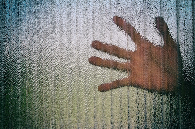 Silhouette of a hand on a door through a closed glass door.