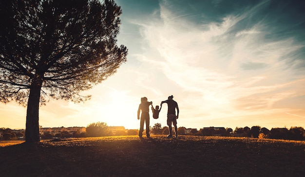 Silhouette of happy family walking in the meadow at sunset  - mother, father and child son having fun outdoors enjoying time together - family, love, mental health and happy lifestyle concept