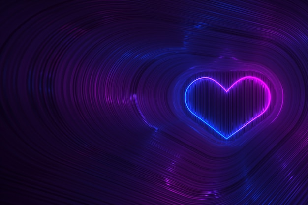 Silhouette of a heart in neon lighting on a dark background