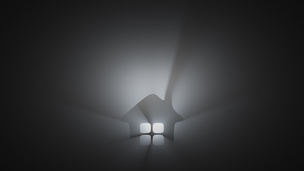 Silhouette of a house in the fog