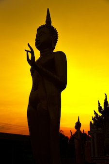 Silhouette image of buddha on golden sunset sky