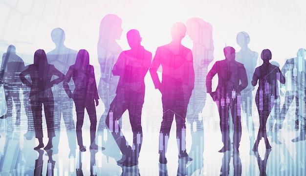 Silhouette image of business people group on city background