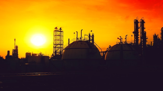 Silhouette image of petroleum industry plant