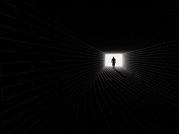 지하철 터널에서 실루엣입니다. 터널 끝의 빛