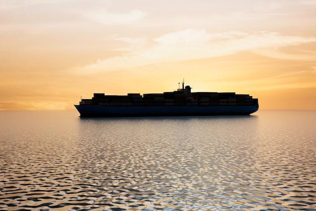 Контейнер международного грузового корабля силуэт, рендеринг 3d иллюстраций