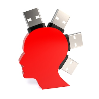 Silhouette of a man's head with a flash drive, isolated on white background.