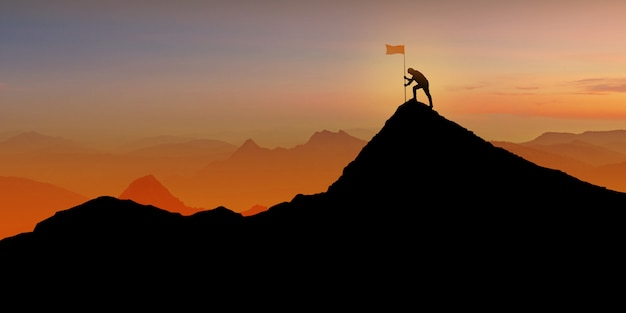 Silhouette of man standing on mountain top over sunset twilight with flag, winner, success and leadership concept