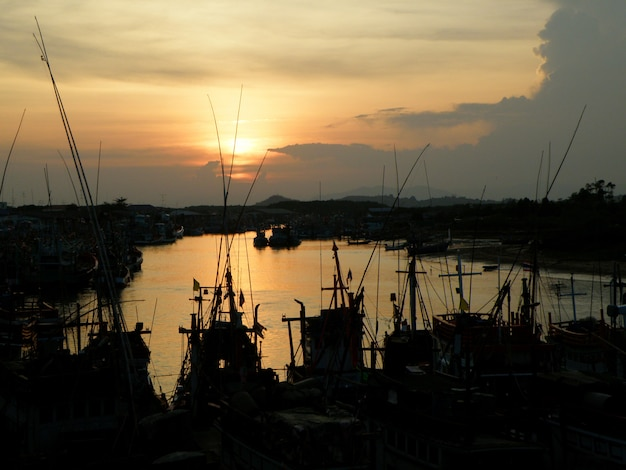 Silhouette of mooring fishing boats