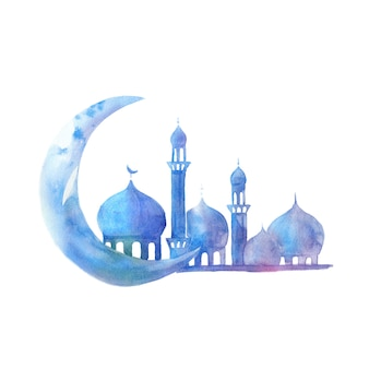 Silhouette of mosque with minarets and moon on watercolor. illustration for muslim holiday.