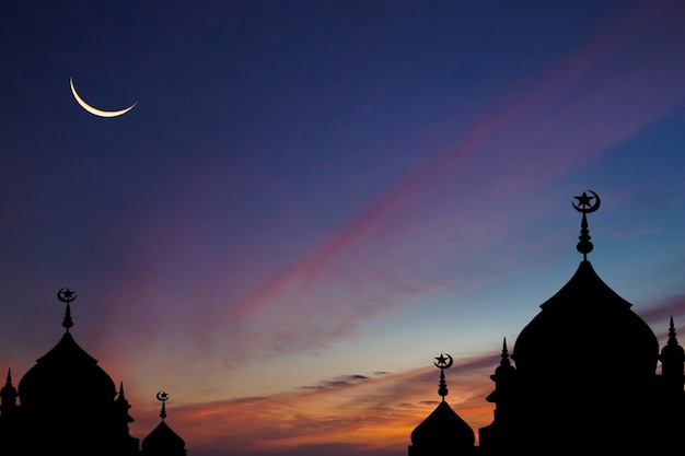 Silhouette mosques on dark blue sky and crescent moon on twilight background