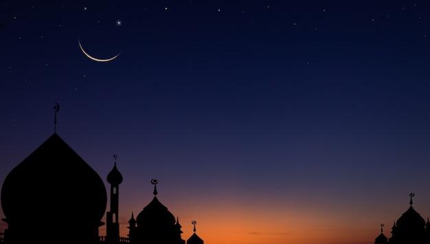 Силуэт купола мечети на сумеречном небе вечером и полумесяц для символа исламской религии