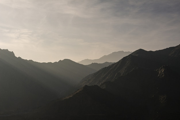 Silhouette of mountains with beautiful scenery of sunset