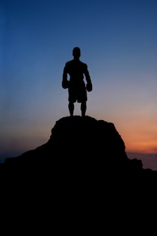 Silhouette of a muscular male boxer standing on rock