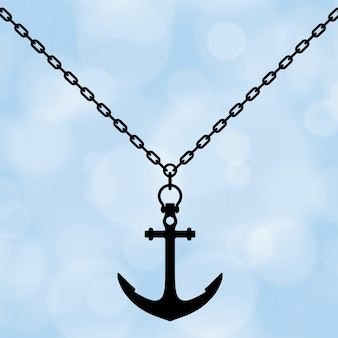 Silhouette of necklace with anchor on a blue background. 3d rendering.