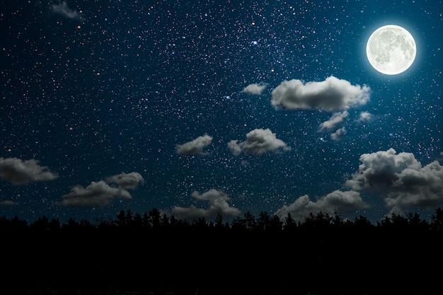 Силуэт летающего готического санта-клауса на фоне ночного неба. элементы этого изображения предоставлены наса
