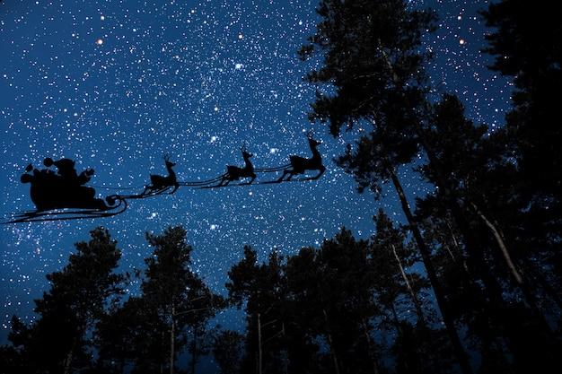 밤하늘을 배경으로 날아다니는 고스 산타클로스의 실루엣. nasa에서 제공한 이 이미지의 요소