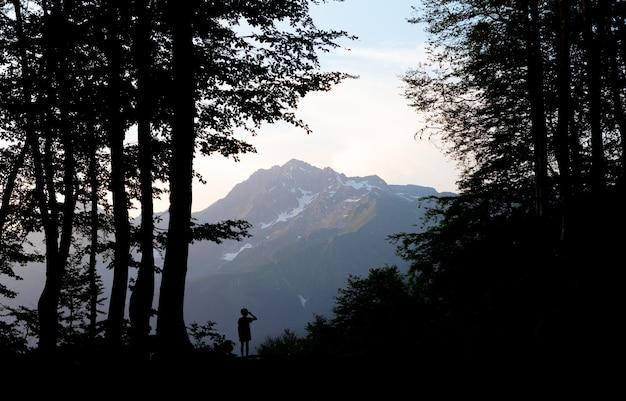 崖の上の森の帽子をかぶった女の子のシルエット女性は山頂の景色を眺める