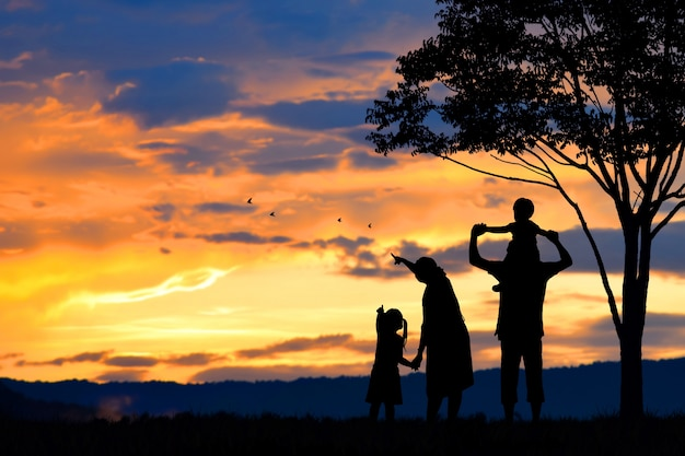 다섯 사람, 어머니, 아버지, 아기, 어린이 및 유아 (여성 임신)의 행복한 가족의 실루엣