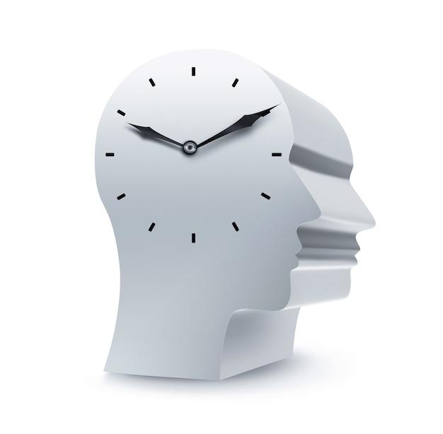 Силуэт головы с часами на белом фоне