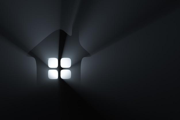 빛의 광선에 집의 실루엣입니다. 빛나는 창