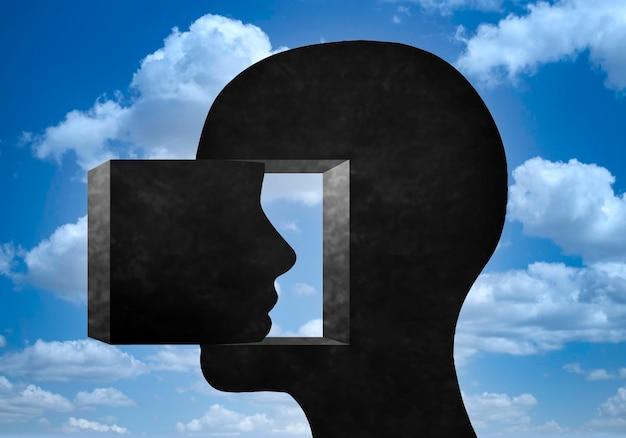 Силуэт человеческой головы, смотрящей внутрь