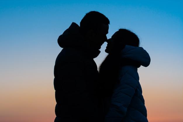 公園で愛するカップルのシルエット