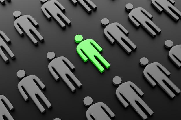 Силуэт мужчины в виде повторяющегося узора с другим цветом в центре. понятие лидерства, отличие от остальных. 3d визуализация.