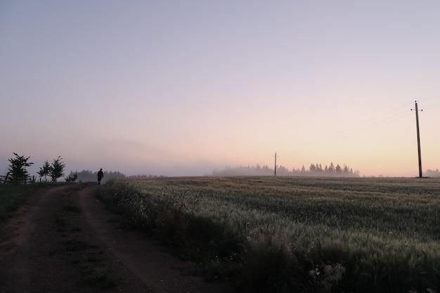 Силуэт человека, идущего в живописном сельском пейзаже на рассвете
