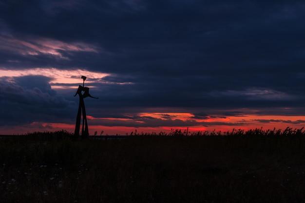Силуэт металлической статуи в травянистом поле под захватывающим облачным небом во время заката