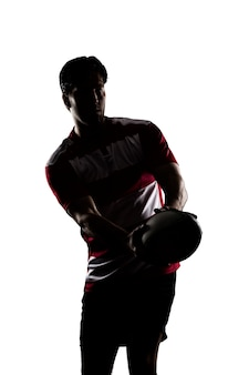 빨간색 유니폼에 럭비 선수의 실루엣.