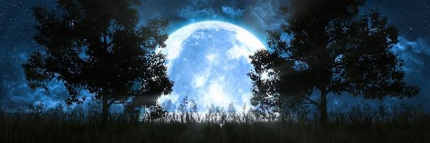 海に映る月を背景にした木のシルエット、3dイラスト