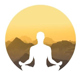 Силуэт женщины, практикующей йогу на фоне горы в круге